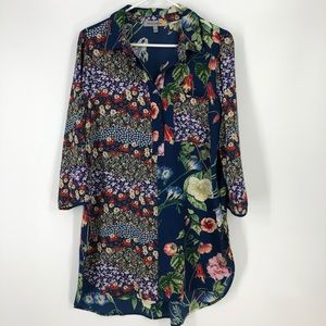 Floral blue pink tunic button up blouse large